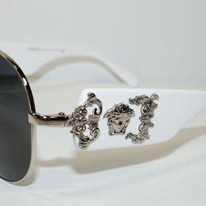 93c93990f64 Versace Accessories - VERSACE AVIATOR WHITE SILVER MEDUSA SUNGLASSES